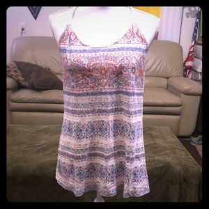 Maurices Cream Tank with Navy and Orange Design